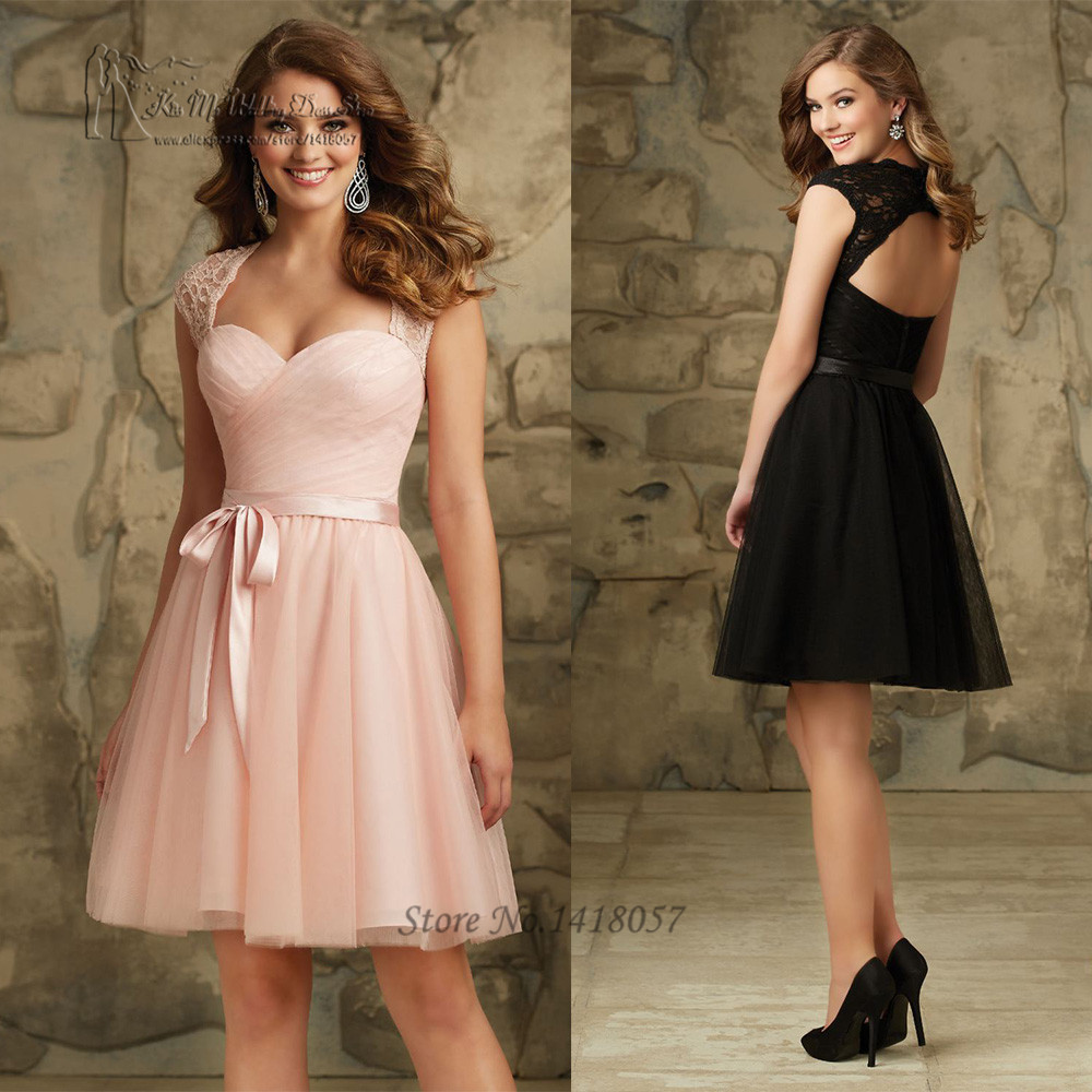 Pink black short cheap bridesmaid dresses 2016 lace party for Black and pink wedding dress