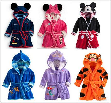 Children Pajamas Bathrobe baby boy / girl dressing gown flannel nightgown kids winter sleepwear hooded robe Cartoon Minnie tiger(China (Mainland))