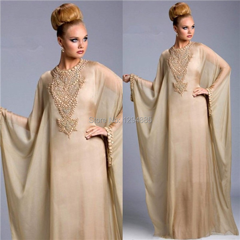design Gold Kaftan Dubai Evening Dresses Long Sleeve Jewel Neck Muslim Gown Luxury Beaded Arabic ED03 - Fairy Bridals store