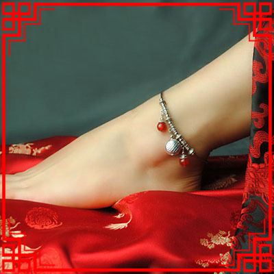 women ethnic anklets chains,new handmade agate foot chains, chinese jewelry Miao silver vintage anklets(China (Mainland))