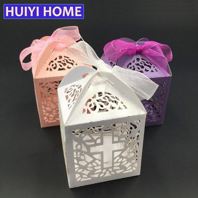 50pcs/lot Wedding Favor Gift Box Laser Cut Cross Pattern Candy Box With Ribbon Party Decoration EDC056(China (Mainland))