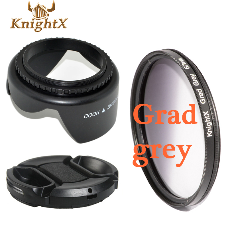 49mm-77mm 67mm Gradient ND GREY Filter Kit + Center Pinch Snap on Front Cap for nikon d7200 for canon 1200d camera digital(China (Mainland))