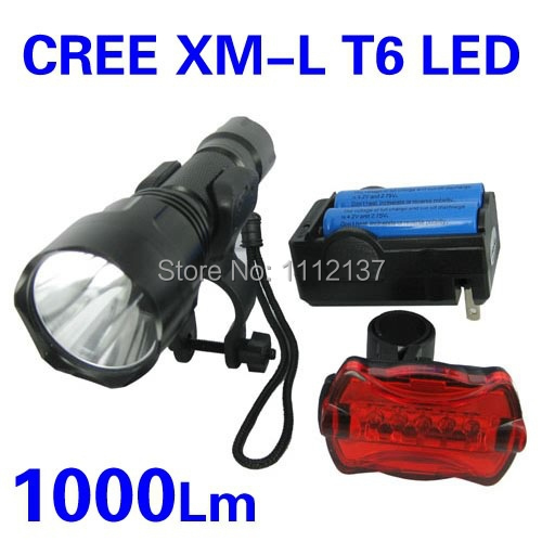 Фара для велосипеда Bicycle Lights 1000 CREE XML T6 LEDFront & + 5 фара для велосипеда new 3 x t6 securitying cree xml led xml t6
