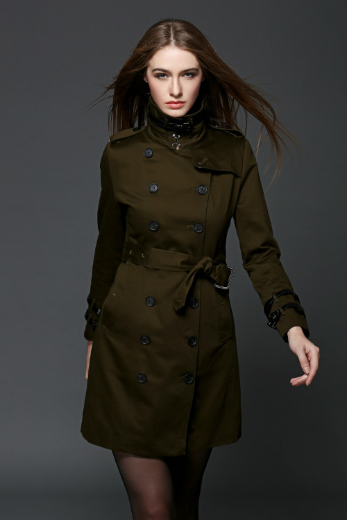 Hot sales New 2015 Spring Autumn Brand Classic double-breasted British style Mid-Length leather detail trench coat#B15090Одежда и ак�е��уары<br><br><br>Aliexpress