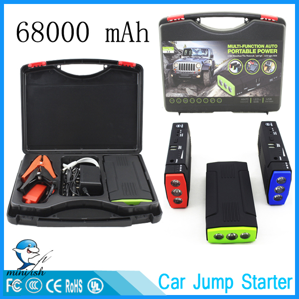 MiniFish Best Selling Products 68000mAh Battery Charger Portable Mini Car Jump Starter Booster Power Bank For A 12V Car(China (Mainland))