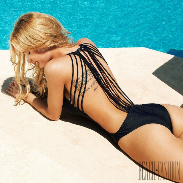 2015 Sexy Backless Hollow Out Swimsuit One Piece Swimwear