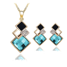 New Fashion womens Geometry square jewellery set of wedding jewerly sets for women with blue crystal african Female Jewelry set(China (Mainland))