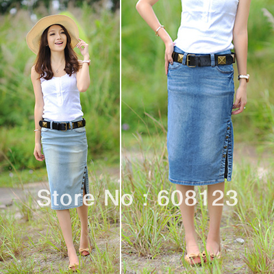 Jean skirt calf length – New skirt this season blog