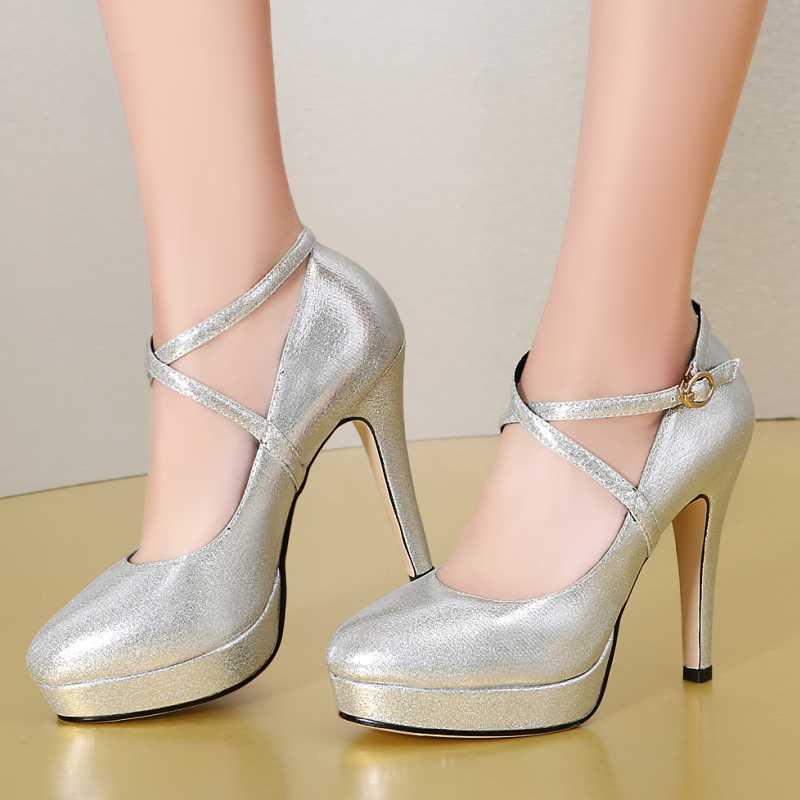DoraTasia Size 32-40 Sexy Women Retro Belt Straps Party Wedding Shoes Fashino High Heels Round Toe Platform Pumps