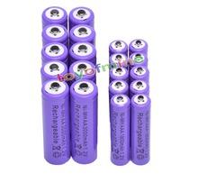 10 AA +10 AAA 1.2V 1800mAh 3000mAh NiMH Purple Rechargeable Battery Cell