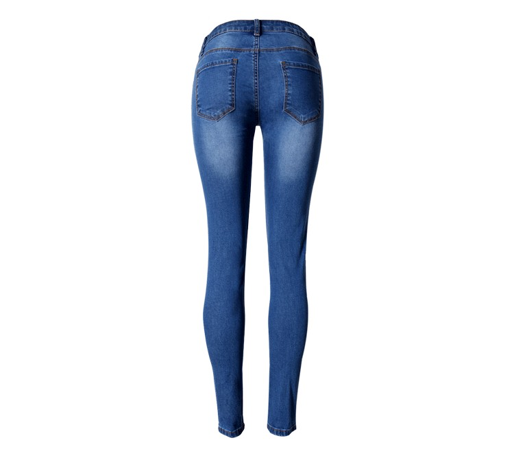 2016 fashion women's straight jeans mid waist blue solid denim pants female classic loose legs jeans