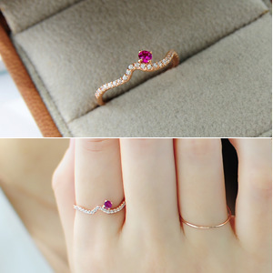 Gold plating  korean exquisite studded  Rose Red  jewel   Rose gold   fine  wave Ring(China (Mainland))