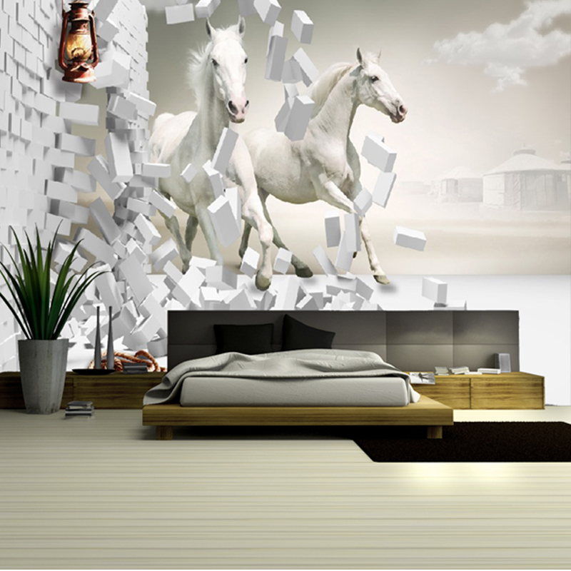 large 3d white horse three dimensional mural sofa embossed