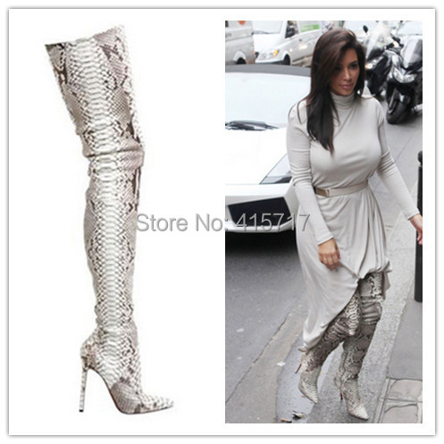 top quality snake print winter thigh high boots