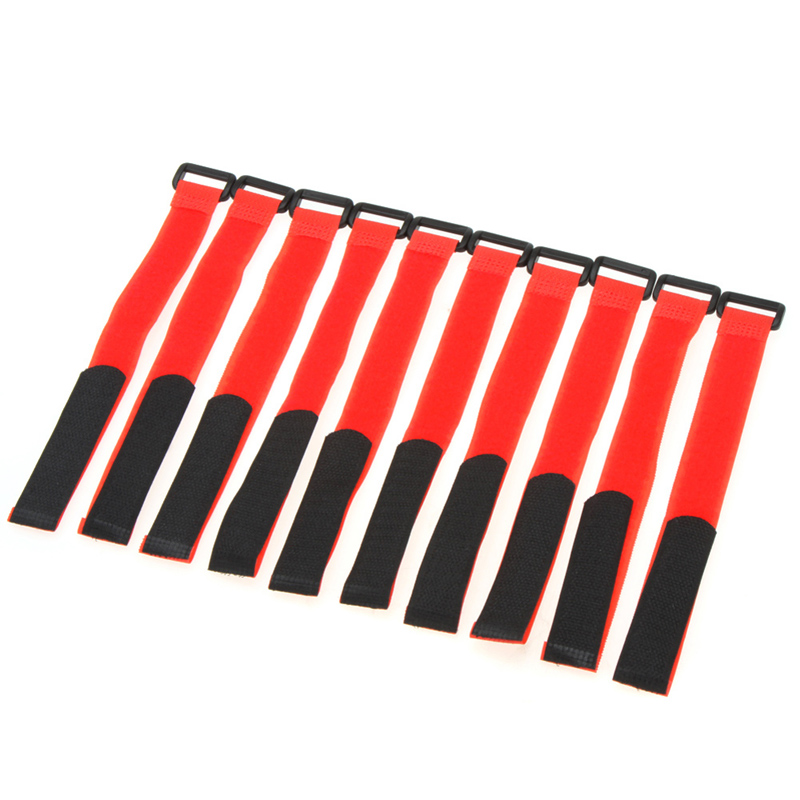 10 Pcs Fashionable Strong RC Battery Antiskid Cable Tie Down Straps Red FCI#(China (Mainland))
