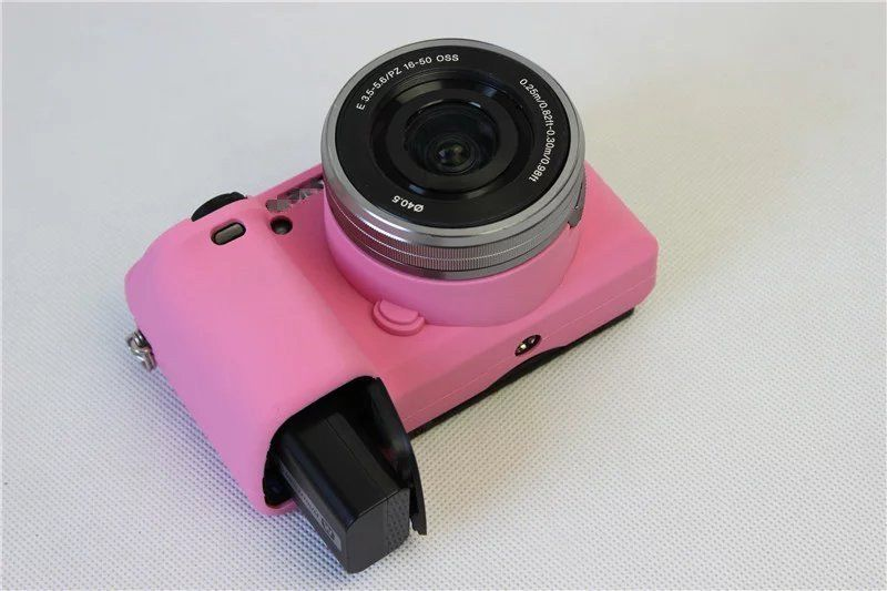 Silicone Armor Skin Case Bag Camera Cover Protector for Sony A6300 PINK T(China (Mainland))