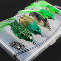 12Pcs Box Fishing Frog Mouse Lure with Ball Bearing Swivel Interlock Snap Pin Fishing Connector Stainless