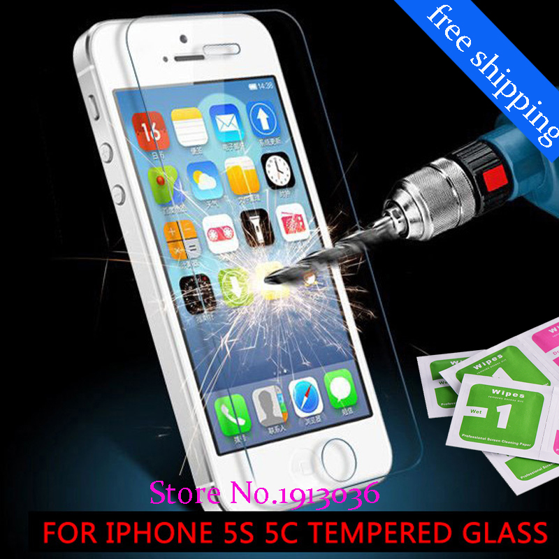 0 26 mm for iphone 5 5s Tempered Glass front clear font b screen b font