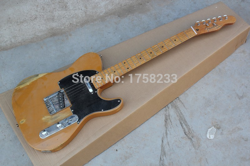 2019 Free Shipping !! Top Quality F Telecaster Nice Maple Neck Electric Guitar Black Pick Guard Hot Guitar In Stock(China (Mainland))
