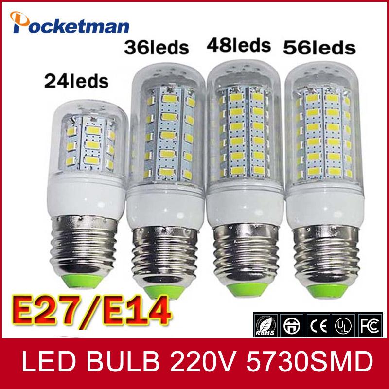 1Pcs Hot sale LED lamp E27 E14 led bulb 220v 240v 24/36/48/56/69/72Leds SMD 5730 bombillas led Free shipping(China (Mainland))