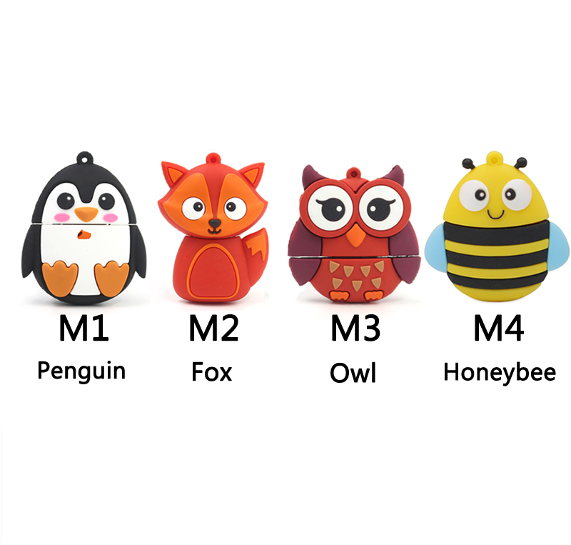 2015 Cute Animal Union Penguin Fox Owl Honeybee Pen disk USB Flash drive 4GB 8GB /16GB /32GB /64GB memory stick U disk(China (Mainland))