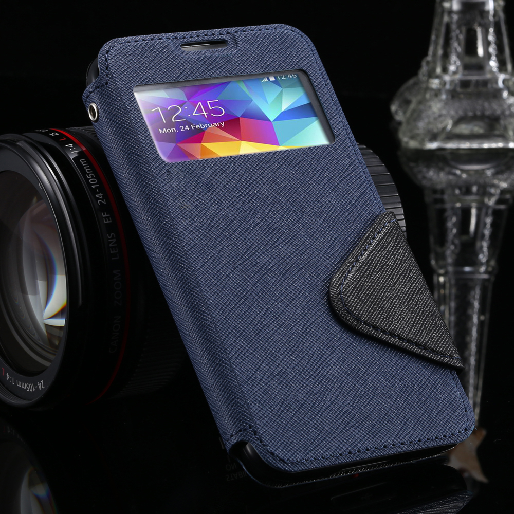 For S4 Top Quality Luxury Window View Flip Leather Case for Samsung Galaxy S4 i9500 Stand Magnetic Buckle Wallet Cover Retro Bag(China (Mainland))