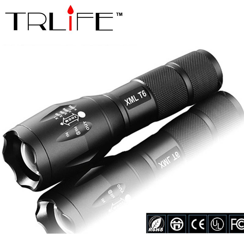 100% Authentic E17 6000 Lumens 5-Mode CREE XM-L T6 LED Flashlight Zoomable Focus Torch by 1*18650 or 3*AAA Free shipping(China (Mainland))