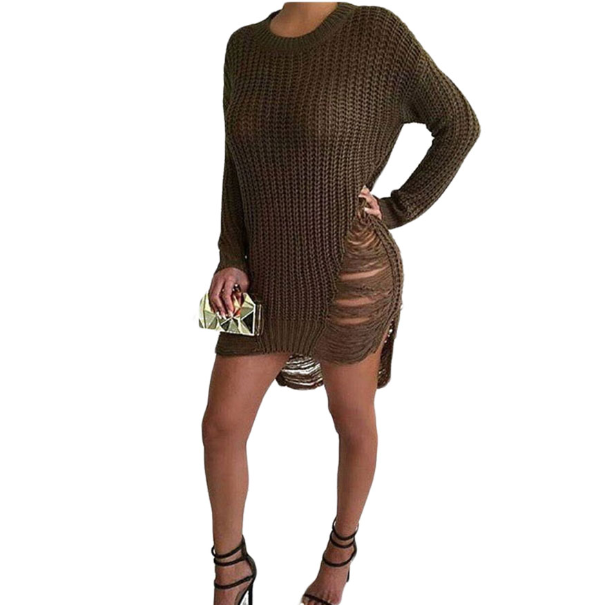 Jerseis Mujer 2016 Winter Oversized Sweater Women Pullover Ripped Off Shoulder Sweater Dress With Holes Pull Femme Hiver(China (Mainland))
