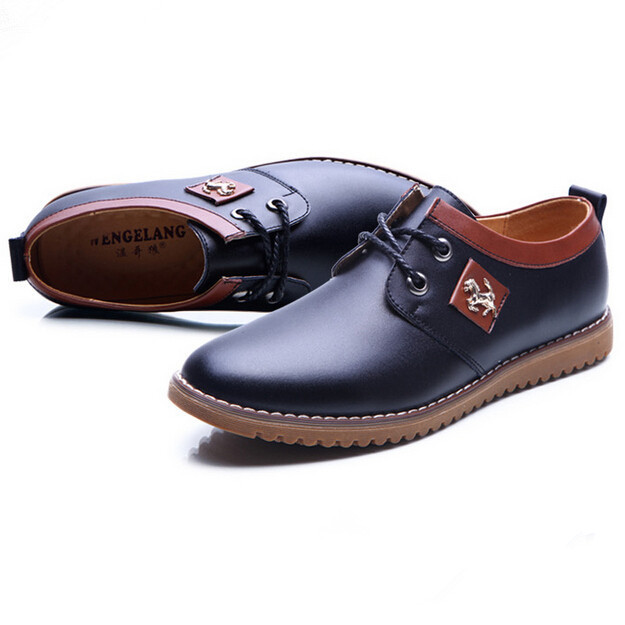 Breathable Autumn Men Flats Lace Leather Shoes Casual Low Top Oxfords Fashion Ankle Boots Plus Size Office