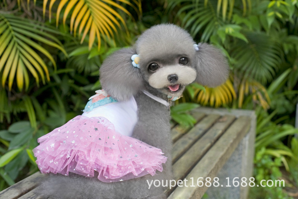 New 2015 Dog Supplies Shirts Dress Summer Blingbling Cat Puppy Pet Dog Teddy Rose Flowers Ruffle Tutu Dress Pets Clothes(China (Mainland))