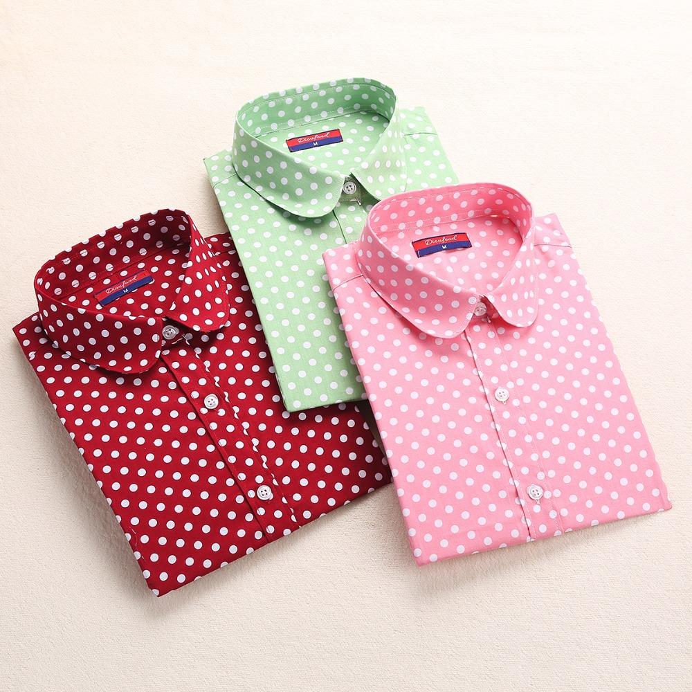Brand Red Polka Dot Women Blouses Cotton Long Sleeve Shirts Turn Down Collar Ladies Tops 5XL Plus Size Clothing Fashion 2016(China (Mainland))