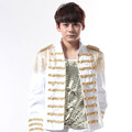 S 5XL 2016 Male dj punk personality epaulette rivets gold embroidery clothes male stage costume