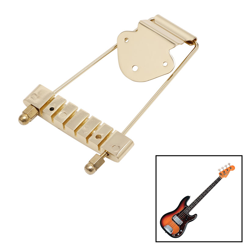 Hot 1Pc Gold Guitar Tailpiece Trapeze Open Frame Bridge For 6 String Archtop Guitar(China (Mainland))