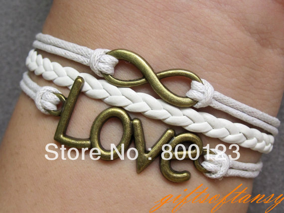 Karma Bracelet - Silver Infinity Bracelet, Silver Love Bracelet , White Wax Cords & Leather Braid Chain-W277