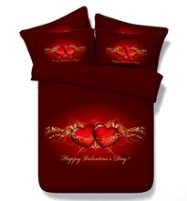 Red heart duvet cover love Valentine's day bedding set comforter quilt bed sheets linen bedspreads double queen super king size(China (Mainland))