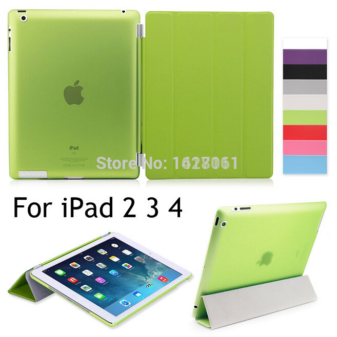 Free shipping PU Leather Slim Magnetic Front Smart Auto Sleep Wake Cover Skin+Hard PC Back Case For Apple ipad 2 ipad 3 ipad 4(China (Mainland))