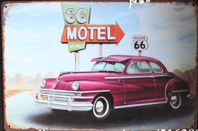 Motel ROUTE 66 voitures signes TIN rétro ART mural Plaque vieux peinture Bar décoration de l'hôtel AA-222 ordre de mélange 20 * 30 CM livraison gratuite(China (Mainland))