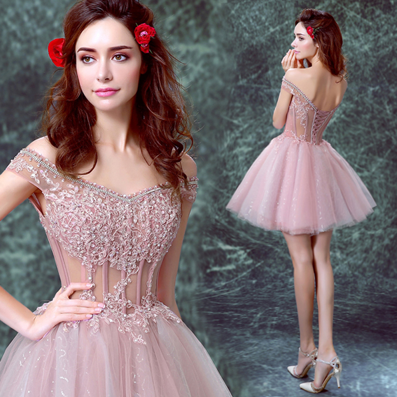 Mini pink cocktail dress 2016 sexy see through sequined beading backless vestidos sexy boat neck bandage party dress 1147,ty1249(China (Mainland))