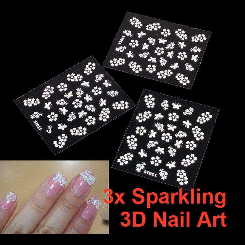 3pcs DIY Tips Sparkling 3D Cosmetic Sticker Decal Seal Flower Makeup Nail Art GUB#(China (Mainland))