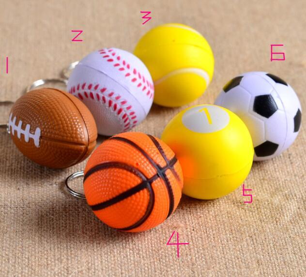soft pu foam American football keychain Sport key chain keyfob basketball baseball table tennis Golf Key Holder keyring(China (Mainland))