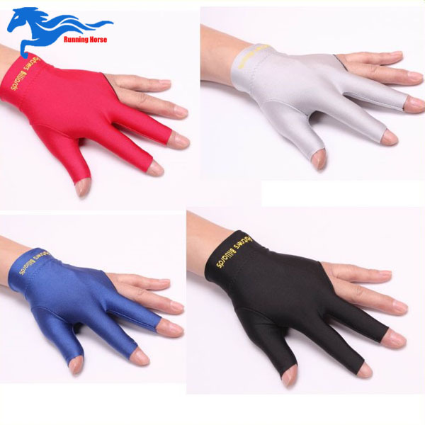 New Arrival Snooker Accessories Club Left Hand Billiards Gloves Billiard Three Fingers Glove Black/Red/Blue/Gray(China (Mainland))