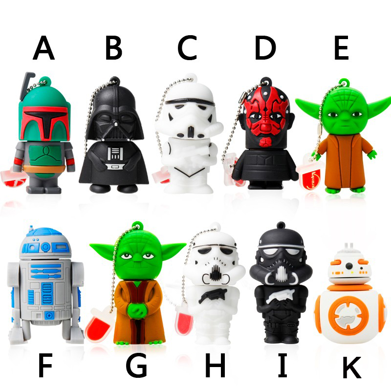 Garunk Usb flash drive 8g Star wars pen drive 32g pendrive 16g R2D2 bb8 Darth Vinda 8g 4g Maul Bounty Hunter Usb2.0 memory stick(China (Mainland))