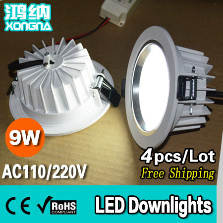 Free Shipping High Lumen 9W LED Downlight Excellent Quality, Epistar Chip, Warm White/Neutral White/Cold White(China (Mainland))