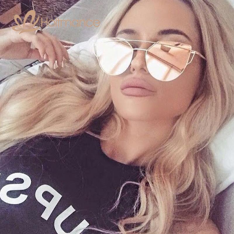 2017 New Cat Eye Aviation Sunglasses Women Fashion Vintage Rose Gold Mirror Sun Glasses Unique Flat Ladies Sunglasses Hut UV400(China (Mainland))