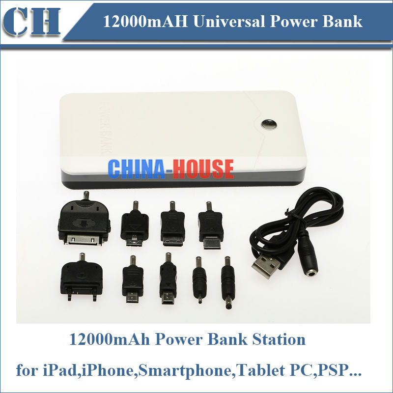 Free Shipping,12000mAh External Universal Power Bank, Portable Rechargeable USB Power Bank for iPhone,Tablet PC,Padphone,PSP(China (Mainland))