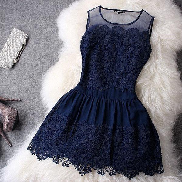 2015 Fashion Women Dress Vestidos Stitching Embroidery Lace Sexy Women Summer Dress Lady Cute Princess Short Dress Sundress 0470(China (Mainland))