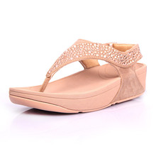 Free delivery 2016 hot summer weight-loss shoes slope with soft Sandals Flip Flops with Rhinestone decoration