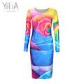 Yilia Plus Size Women Clothing 2017 Spring Fall Fashion Flower Print Women Dress Ladies Long Sleeve