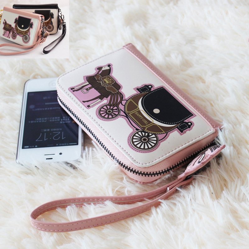 New Vintage High Grade PU Leather Women Wallets Cute Little Carriage Mobile Phone Bag Wallet For Ladies Coin Purse &amp; ID Holder<br><br>Aliexpress