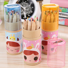 Buy 2Barrels/ 24pcs/Lot Stationery Child Mini 12 Color Pencil Cute Wooden Colored Pencils Sharpener Kid birthday gift Papelaria for $6.11 in AliExpress store